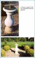 """A """"Grocers' pattern"""" dial on a handmade limestone pedestal."""