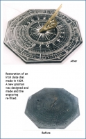 Restoration of an Irish slate dial made in 1829.