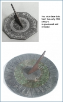 Two Irish slate dials from the early 19th century, re-gnomoned and restored.