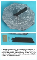 A replacement gnomon for an Irish slate horizontal dial.
