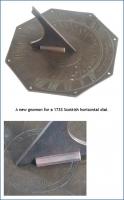 A new gnomon for a 1733 Scottish horizontal dial.