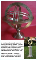 An armillary sphere made as a silver wedding anniversary present.