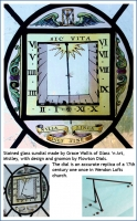 Stained glass sundial made by Grace Wallis of Glass 'n Art.